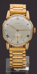 Timepieces:Wristwatch, Longines Gent's 18k Wristwatch With Gold Band. ...