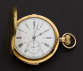 Timepieces:Pocket (post 1900), Swiss 18k Gold Quarter Hour Repeater With Chronograph. ...