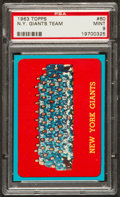 Football Cards:Singles (1960-1969), 1963 Topps N.Y. Giants Team #60 PSA Mint 9 - Pop Five, None Higher! ...