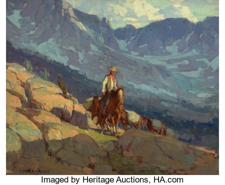 EDGAR ALWIN PAYNE (American, 1883-1947)The Lone PackerOil on canvas28 x 34 inches (71.1 x 86.4 cm)Signed lower l...