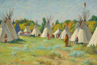 JOSEPH HENRY SHARP (American, 1859-1953) The Blue Teepee Oil on canvas 12 x 18-1/4 inches (30.5 x