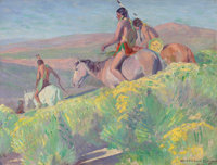 WILLIAM HERBERT DUNTON (American, 1878-1936) On the Trail, 1912 Oil on canvas 12-1/4 x 16 inches