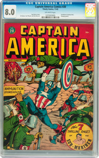 Captain America Comics #20 (Timely, 1942) CGC VF 8.0 Off-white pages