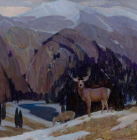 WILLIAM HERBERT DUNTON (American, 1878-1936) Heart of the Rockies Oil on canvas 14 x 14 inches (3