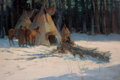 Paintings, OSCAR EDWARD BERNINGHAUS (American, 1874-1952). A Winter Camp. Oil on canvas. 24 x 36 inches (61.0 x 91.4 cm). Signed lo...
