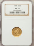 Liberty Quarter Eagles: , 1858 $2 1/2 AU55 NGC. NGC Census: (21/141). PCGS Population(13/62). Mintage: 47,377. Numismedia Wsl. Price for problem fre...