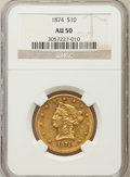 Liberty Eagles: , 1874 $10 AU50 NGC. NGC Census: (24/287). PCGS Population (65/176).Mintage: 53,160. Numismedia Wsl. Price for problem free ...