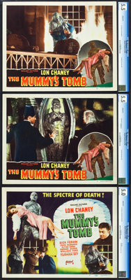 """The Mummy's Tomb (Realart, R-1948). CGC Graded Title Lobby Card and Lobby Cards (2) (11"""" X 14""""). ... (Total: 3..."""