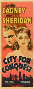 "Movie Posters:Drama, City for Conquest (Warner Brothers, 1940). Insert (14"" X 36"").. ..."
