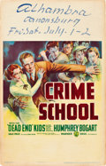 """Movie Posters:Crime, Crime School (Warner Brothers, 1938). Window Card (14"""" X 22"""").. ..."""