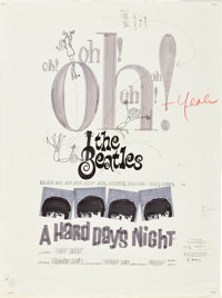 "A Hard Day's Night (United Artists, 1964). Poster Preliminary Layout (18"" X 24"")"