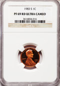 Proof Lincoln Cents, 1983-S 1C PR69 Red Ultra Cameo NGC. NGC Census: (390/0). PCGSPopulation (1559/32). Numismedia Wsl. Price for problem free...