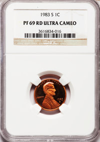 1983-S 1C PR69 Red Ultra Cameo NGC. NGC Census: (390/0). PCGS Population (1559/32). Numismedia Wsl. Price for problem fr...