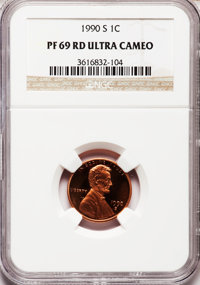 1990-S 1C PR69 Red Ultra Cameo NGC. NGC Census: (663/73). PCGS Population (3233/108). Numismedia Wsl. Price for problem...