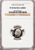 Proof Roosevelt Dimes: , 1993-S 10C Silver PR69 Ultra Cameo NGC. NGC Census: (708/112). PCGSPopulation (2216/130). Numismedia Wsl. Price for probl...