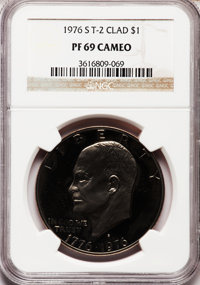 1976-S $1 Clad, Type Two PR69 Cameo NGC. NGC Census: (220/0). PCGS Population (59/0). Numismedia Wsl. Price for problem...