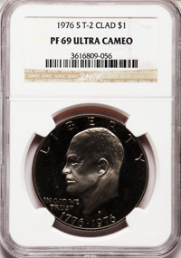 1976-S $1 Clad, Type Two PR69 Ultra Cameo NGC. NGC Census: (313/0). PCGS Population (14068/0). Numismedia Wsl. Price for...