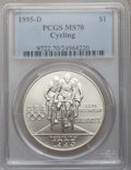 Modern Issues, 1995-D $1 Olympic/Cycling Silver Dollar MS70 PCGS. NGC Census: (213). PCGS Population (107). Numismedia Wsl. Price for pro...