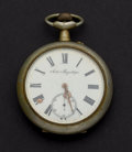 Timepieces:Pocket (post 1900), Over Sized Swiss 11 Jewel Pocket Watch, Raised Art Nouveau Motif....