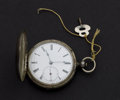 Timepieces:Pocket (pre 1900) , Unusual Swiss .800 Silver Hunter's Case Pocket Watch, Fancy FormPlates With Compass. ...