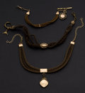 Timepieces:Watch Chains & Fobs, Three Victorian Hair Chains Two With Gold Filled Fobs. ... (Total: 3 Items)