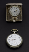 Timepieces:Other , Over Size Doxa Pocket Watch & Waltham Sterling Travel Watch. ... (Total: 2 Items)