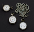 Timepieces:Pocket (pre 1900) , Three Swiss Pocket Watches Two Sterling & One .800 Silver. ...(Total: 3 Items)