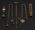 Timepieces:Watch Chains & Fobs, Four Gold Filled Watch Chains & Fobs And One Gold Filled Fob.... (Total: 5 Items)