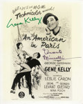 """Movie/TV Memorabilia:Autographs and Signed Items, Gene Kelly and Vincente Minnelli Signed Photo. A b&w 8"""" x 10"""" featuring poster art for the 1951 musical An American In Par... (Total: 1 Item)"""