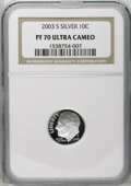 Proof Roosevelt Dimes: , 2003-S 10C Silver PR70 Deep Cameo NGC. PCGS Population (144/0).Numismedia Wsl. Price: $50. (#95307)...