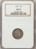 Bust Dimes: , 1835 10C AU55 NGC. NGC Census: (27/330). PCGS Population (45/212).Mintage: 1,410,000. Numismedia Wsl. Price for problem fr...