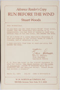 Books:Mystery & Detective Fiction, Stuart Woods. SIGNED. Run Before the Wind. Norton, 1983.Advance reader's copy. Signed by the author. Mild r...