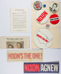 Books:Americana & American History, Richard Nixon. Group of 7 Campaign Buttons and Various PromotionalItems. Near fine....