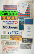 Books:Americana & American History, Group of Political Campaign Materials. Includes buttons, stickers,pamphlets, and even a license plate. Most appears unused....