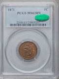 Indian Cents, 1871 1C MS63 Brown PCGS. CAC....