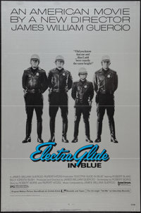 "Electra Glide in Blue (United Artists, 1973). One Sheet (27"" X 41""). Flat Folded on silver paper. Crime"