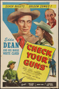 "Movie Posters:Western, Check Your Guns (PRC, 1947). One Sheet (27"" X 41""). Western.. ..."
