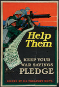 "Movie Posters:War, World War I Propaganda (U.S. Treasury Dept., 1918). Poster (20"" X30""). ""Help Them."" War.. ..."