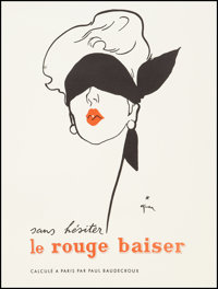 "Le Rouge Baiser (Paris, Circa 1950). French Advertising Poster (17.25' X 22.25""). Advertising"