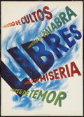 "Movie Posters:War, World War II Propaganda Poster (U.S. Office of Inter-AmericanAffairs, 1942). Poster (14"" X 20""). ""Libres."" War.. ..."