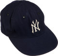 Baseball Collectibles:Uniforms, 1961 Mickey Mantle World Series Game Worn New York Yankees Cap. ...