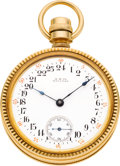 Timepieces:Pocket (pre 1900) , Waltham Rare 18k Gold Ezra C. Fitch Patented Case, Model 79 With 24 Hour Dial, circa 1879. ...