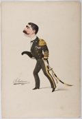 Books:Prints & Leaves, [Mario Buonsollazzi]. Solatium. Hand Colored Lithograph ofUniformed Man. 1884. Measures approx. 14.25 x 9.75 inches. Ed...