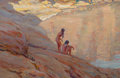Paintings, MAYNARD DIXON (American, 1875-1946). Desert Pool, 1916. Oil on canvas. 9 x 14 inches (22.9 x 35.6 cm). Signed and dated ...