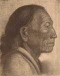 Prints, OSCAR EDWARD BERNINGHAUS (American, 1874-1952). Santiago of Taos Pueblo. Lithograph on paper. Plate: 10 x 8 inches (25.4...
