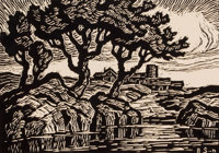 BIRGER SANDZÉN (American, 1871-1954) Kansas Creek and Kansas Landscape (pair) Woodcuts on paper L