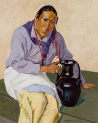 WALTER UFER (American, 1876-1936) Man with Olla Oil on canvas 20-1/4 x 16-1/4 inches (51.4 x 41.3