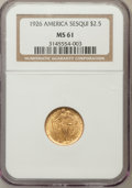 Commemorative Gold: , 1926 $2 1/2 Sesquicentennial MS61 NGC. NGC Census: (352/6618). PCGSPopulation (228/10006). Mintage: 46,019. Numismedia Wsl...