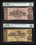 Confederate Notes:1862 Issues, T52 $10 1862. T60 $5 1863.. ...
