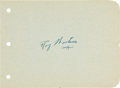 """Hockey Collectibles:Others, Circa 1940's Roy """"Shrimp"""" Worters Signed Autograph Album Page...."""